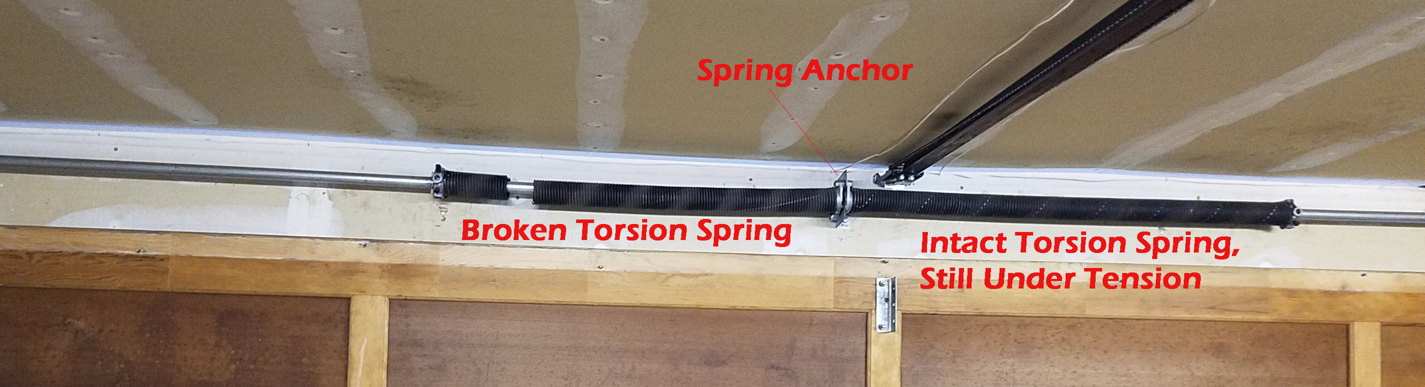 broken garage door spring, torsion style