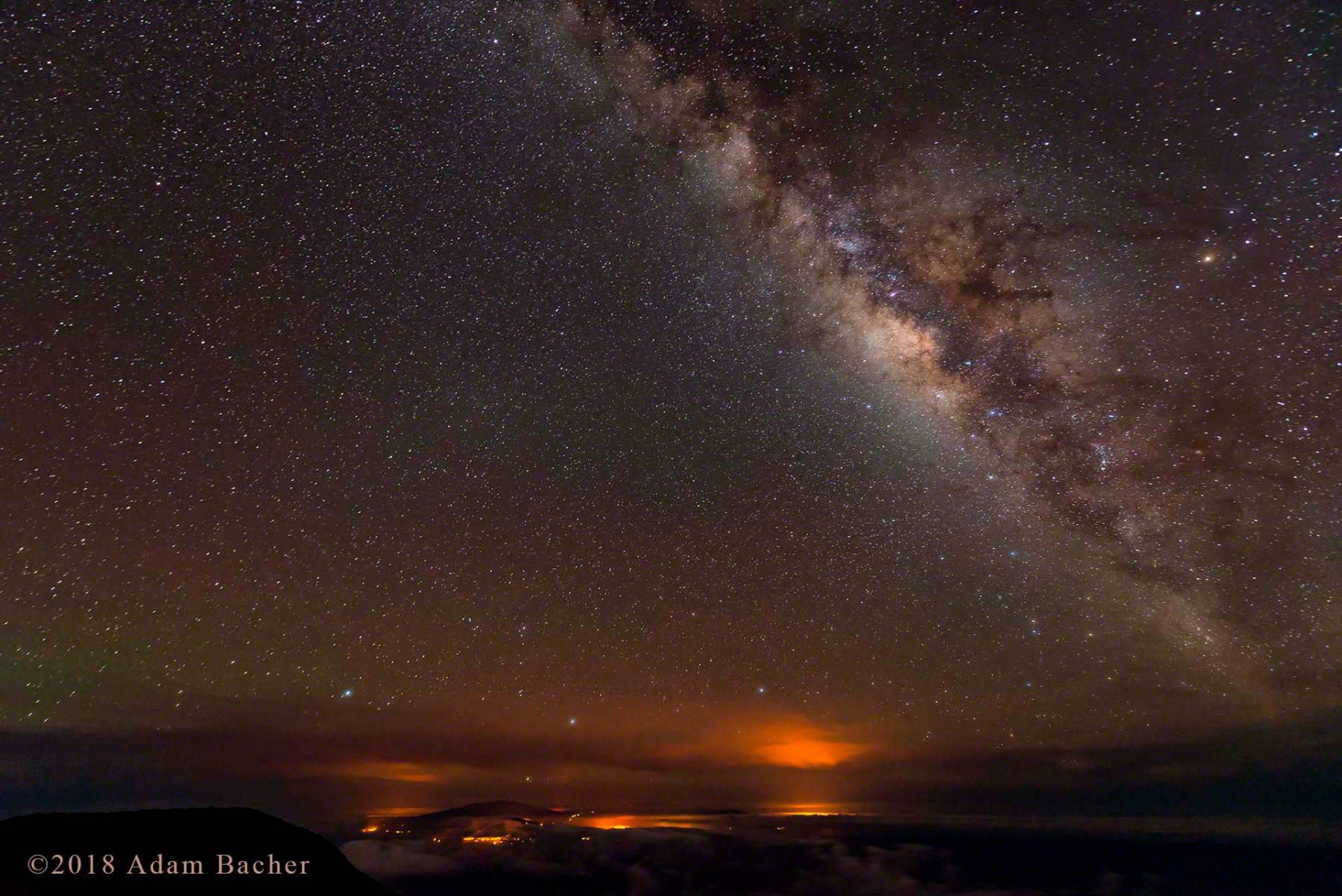 architecture of the universe: milky way night star photography,  big island of hawaii in distance from maui  haleakala summit