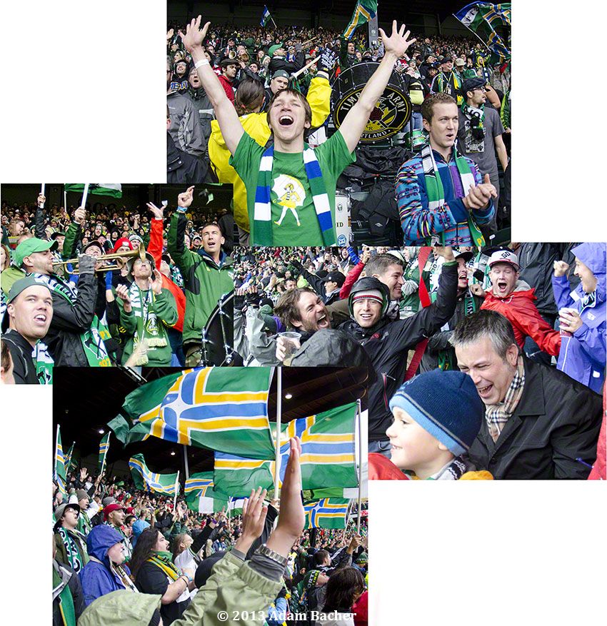 Portland Timbers fans at soccer game