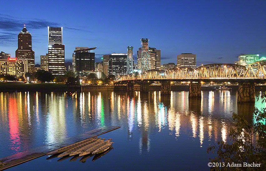 Portland Oregon skyline and Willamette river at night