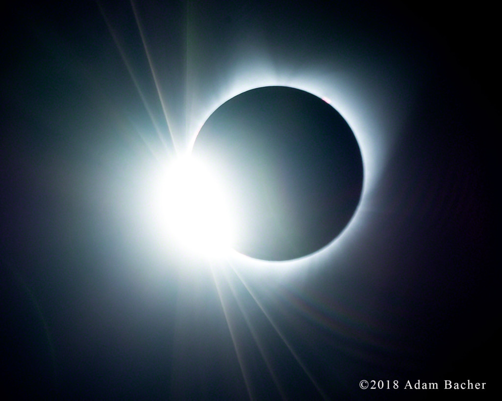Total eclipse of the sun, first diamond ring. Spray, Oregon.