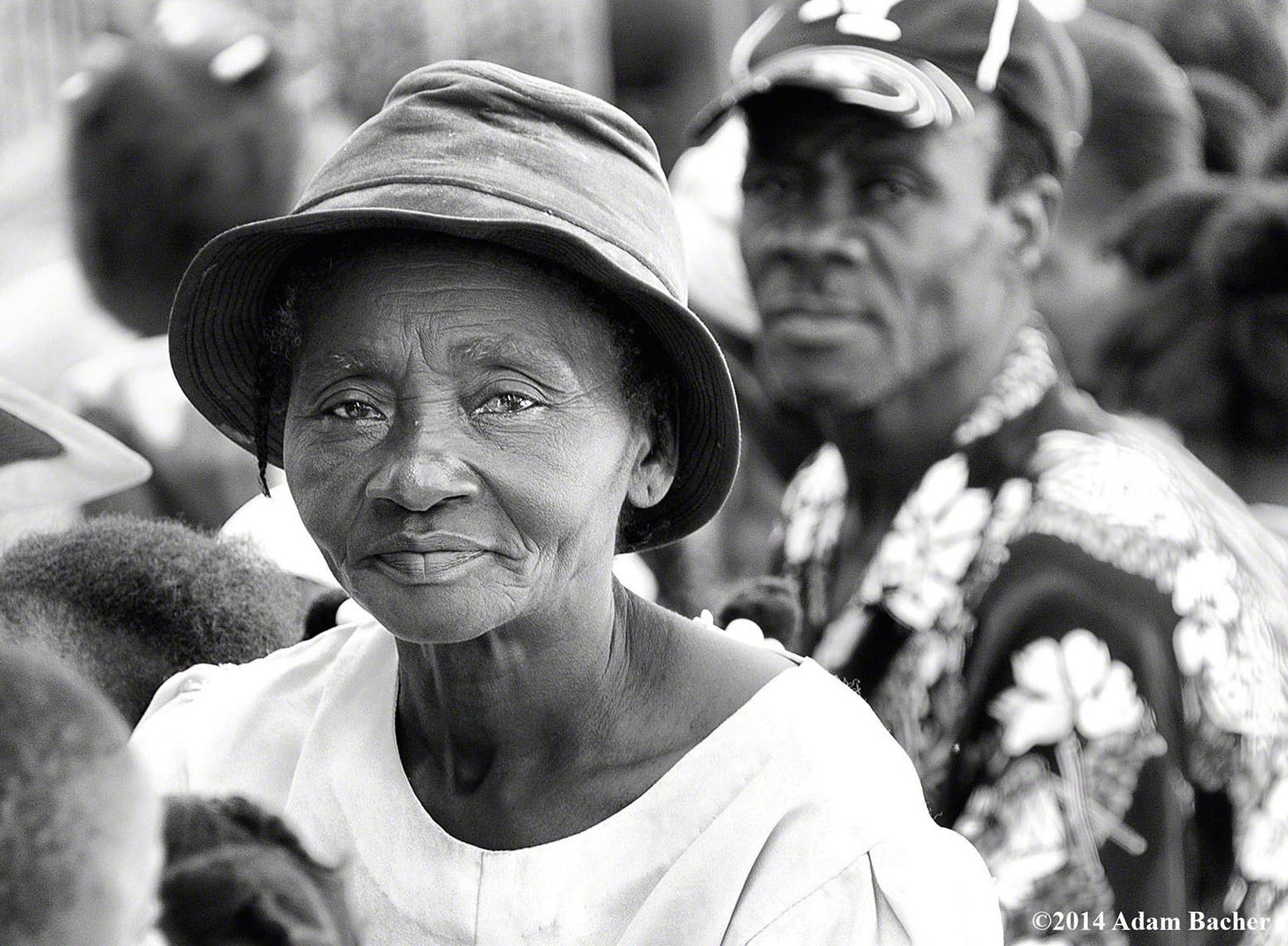 Haiti black and white portrait at medical clinic
