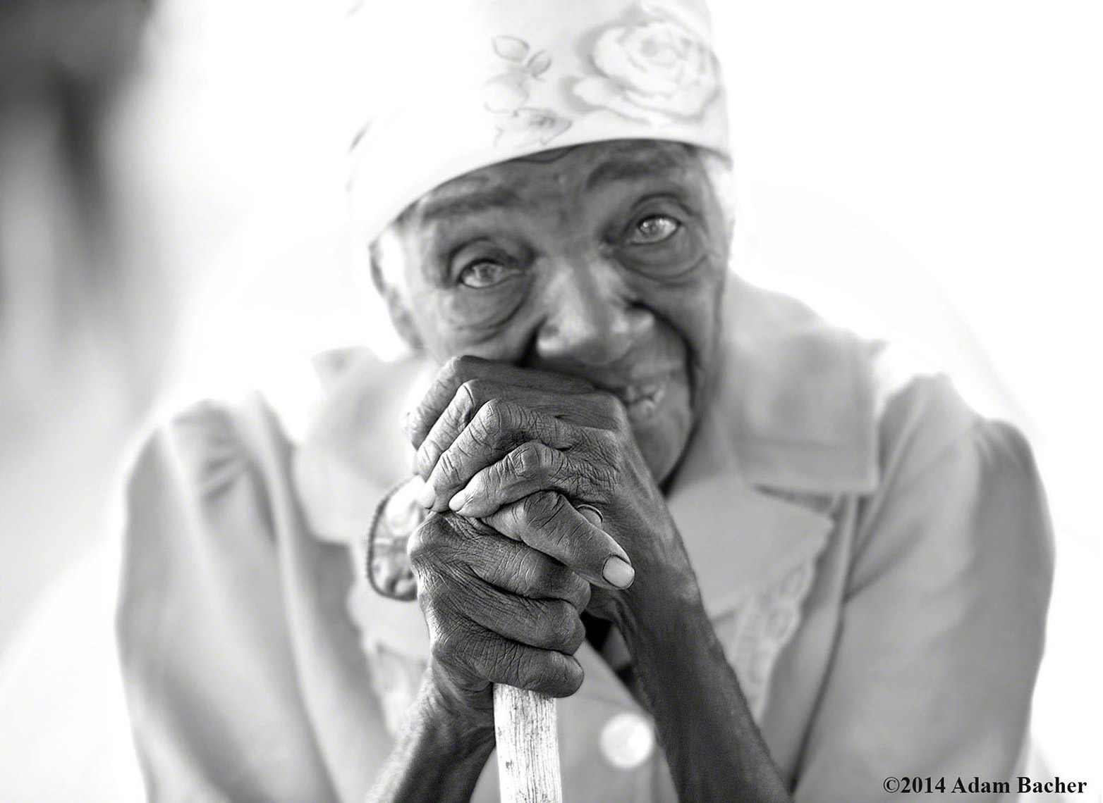 Haiti black and white portrait at medical clinic