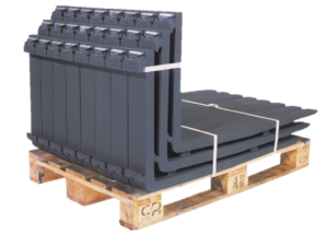 Pallet of ITA hook type forks for warehouse or industrial forklifts