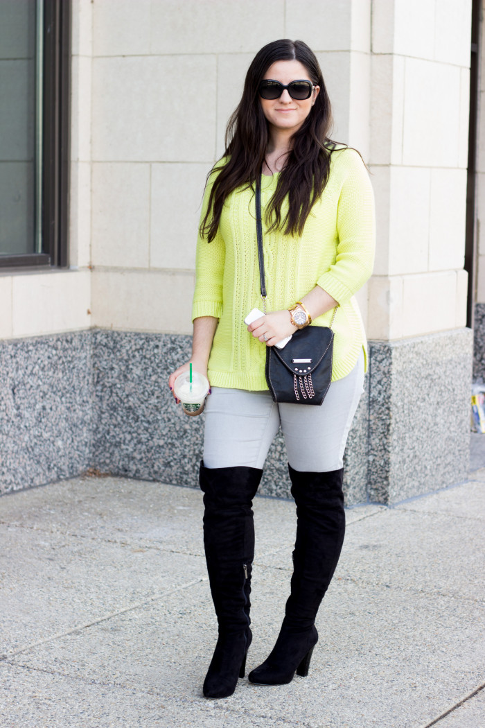 boots and neon sweater