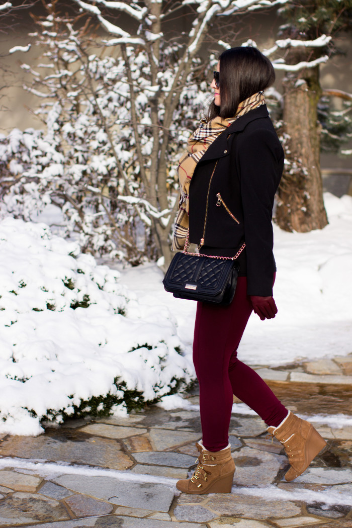 winter details, burberry scarf, beige suede wedge boots, moto jacket, black calvin klein jacket, burgundy pants, quilted handbag, street style