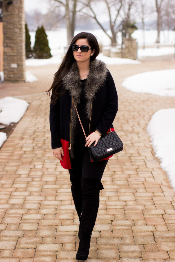 black and red combination, anne klein womens sweater, leggings, over the knee boots. all black outfit, street style, quilted crossbody, designer handbags