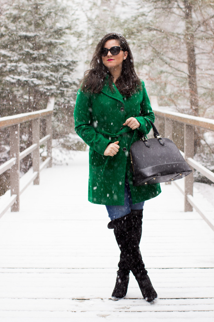 green coat, kenneth cole coat, winter pea coat, winter outfit idea, jeans and boots, black boots, blogger style, work appropriate outfit