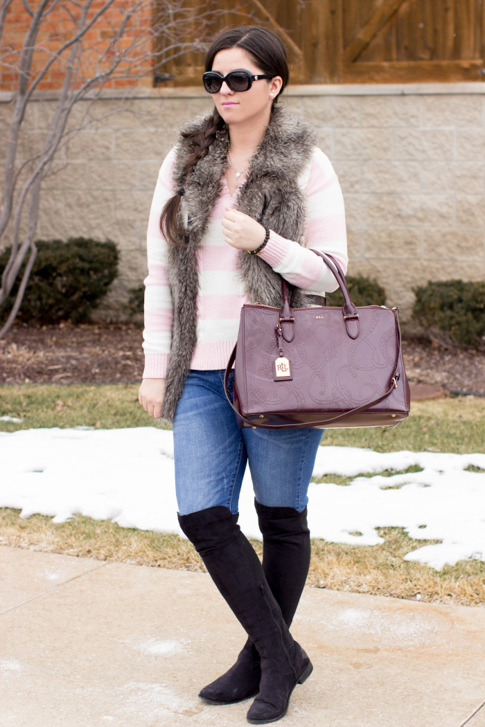 jeans and over the knee boots, faux fur vest, sweater vest, guess womens fashion. skinny jeans, jeggings, ralph lauren handbag, side braid