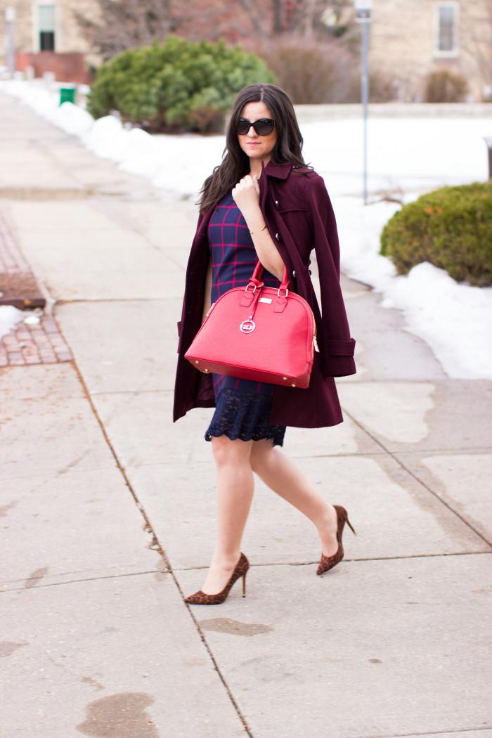 Michael kors, Michael kors dress, plaid dress, blue dress, work outfit idea,spring dress, leopard shoes, red handbag