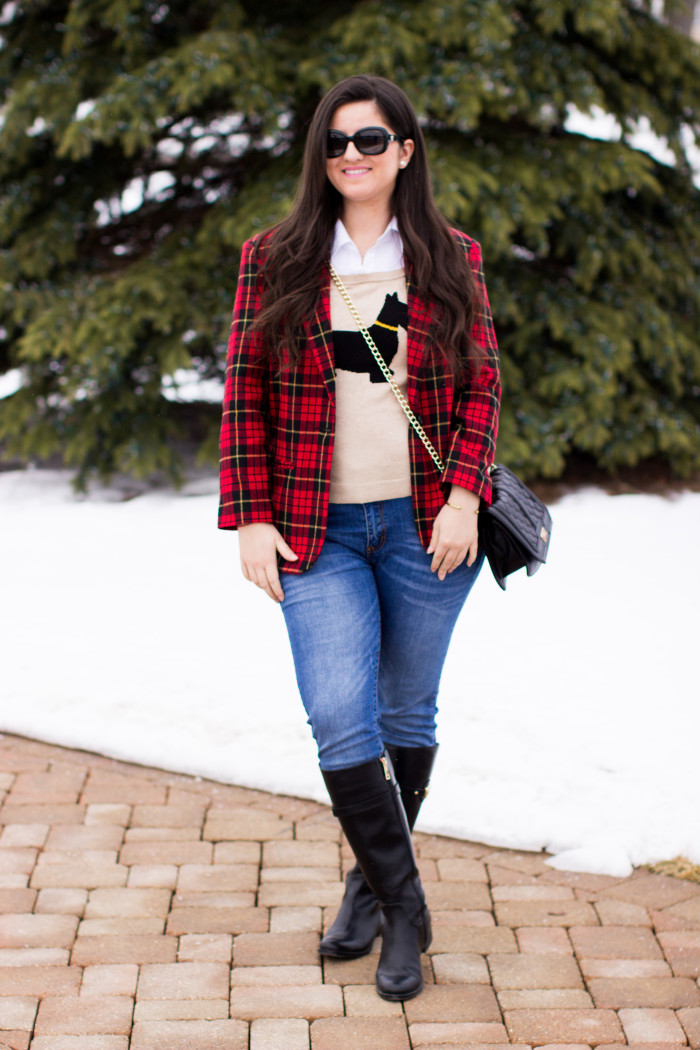 plaid blazer, winter outfit idea, preppy outfit, Tommy Hilfiger boots, plaid, winter fashion, Christmas fashion, classic blazer