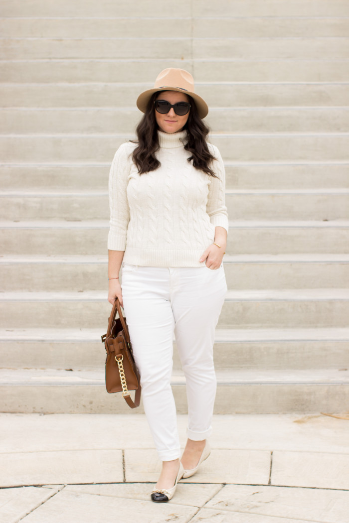 white and beige spring outfit, white jeans, white sweater, beige hat, Michael kors, beige handbag, spring outfit idea, casual spring outfit