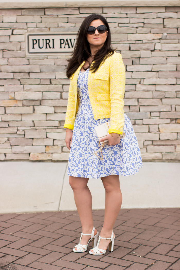 easter dress, spring dress, blue print dress, yellow eatweed coat, easter sunday womens fashion,