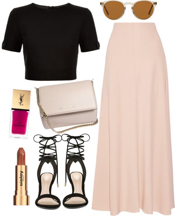 maxi skirt, crop top. lace up black sandal, ysl pink nail polish, Givenchy handbag, spring outfit idea