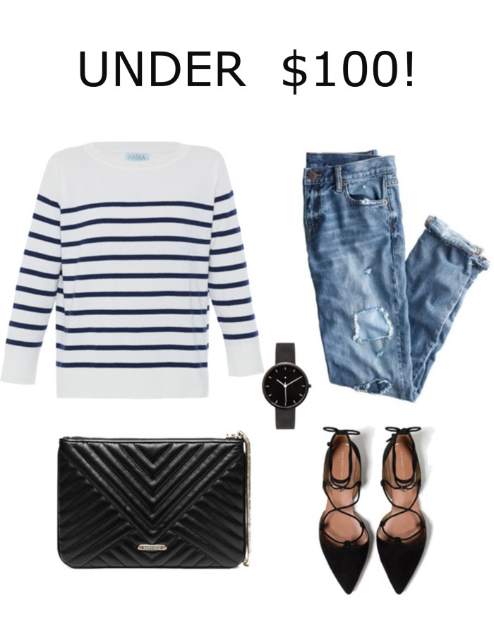 fashion under hundred, striped top, boyfriend jeans, distressed denim, lace up flat womens shoes, black watch, guess handbag