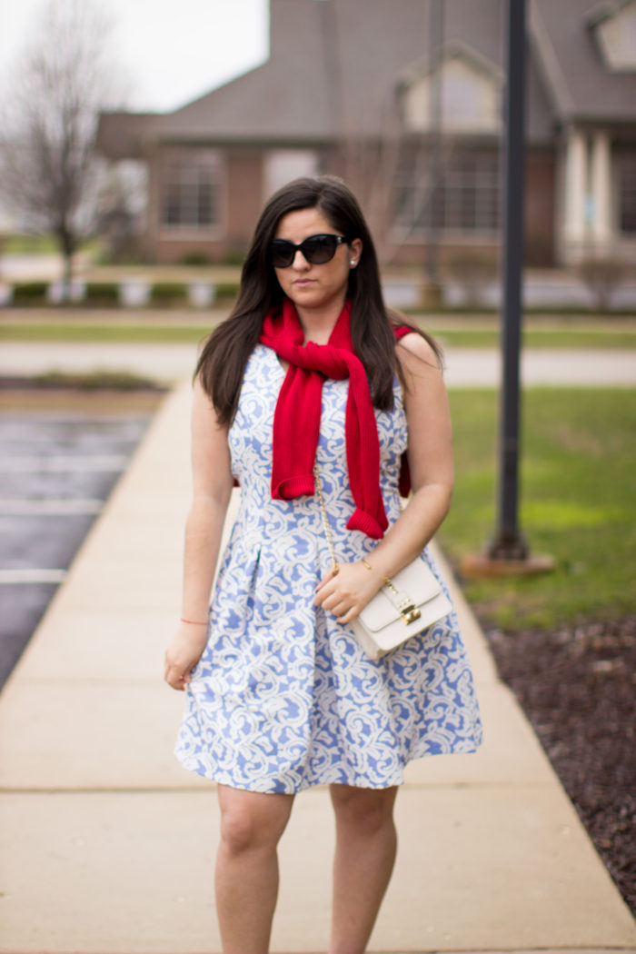 cold spring days, what to wear in cold spring days, blue print dress, red suede boots, preppy outfit, hush puppies boots,