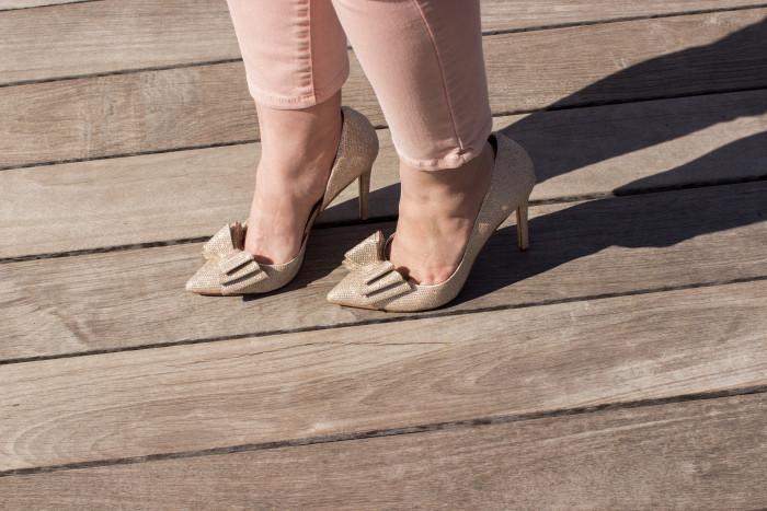 lace top, blush pants, spring outfit idea, glittery shoes, Betsey Johnson shoes, bcbg handbag, white lace top