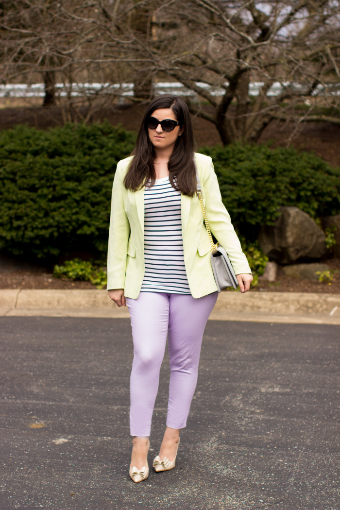 pastels and stripes, lavender pants, pastel green jacket, gold bow pumps, spring outfit idea, striped top
