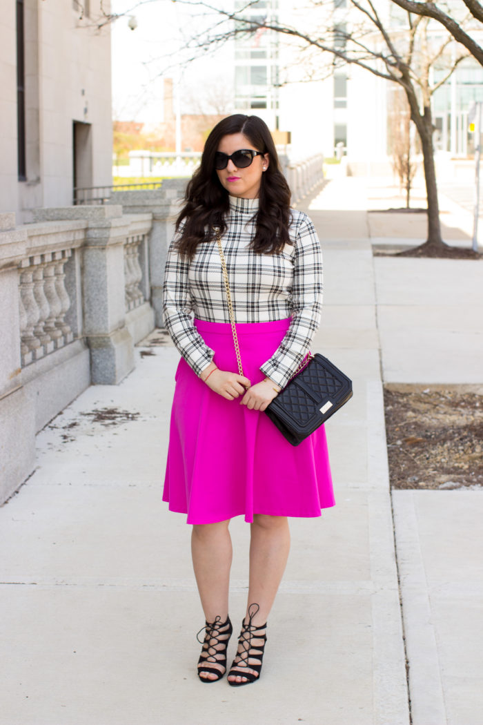 summer must have, bright pink skirt, A-line summer skirt, fuchsia skirt, cage sandals, lace up steve madden sandals