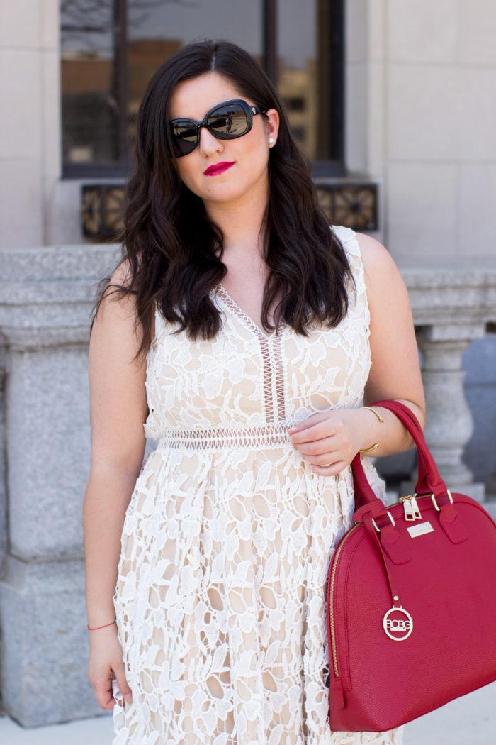 white lace crochet dress, summer dress ideas, womens summer dress, crochet dress, red handbag.