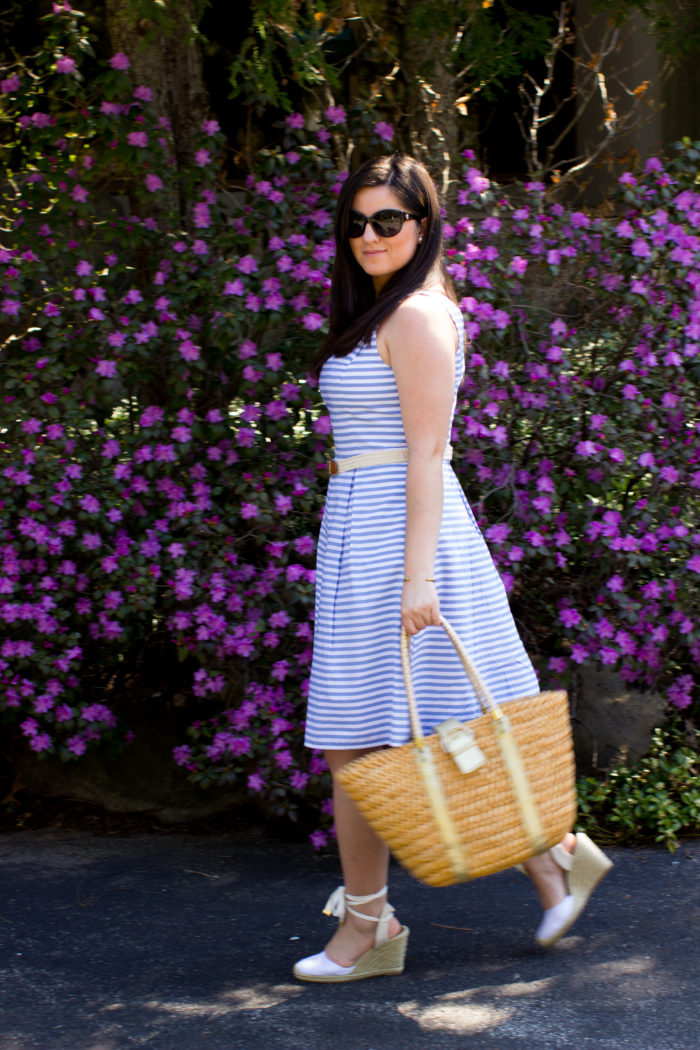 wrap espadrille wedges, summer dress, spring dress, brunching lady outfit, church outfit idea, striped dress