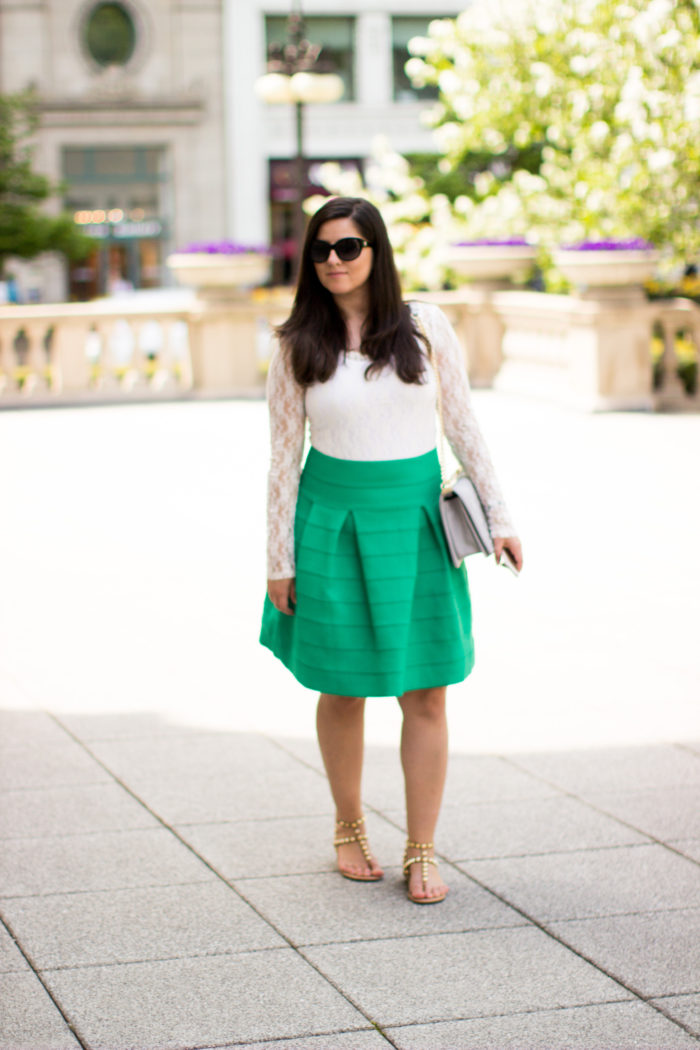 HM Skirt, green summer skirt, white lace top. rockstud sandals, quilted handbag, summer outfit idea