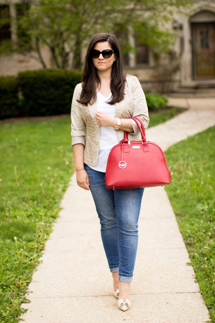 jeans and white tee, how to style jeans for spring, red handbag, spring outfit idea, bow pumps, Betsey Johnson, bcbg