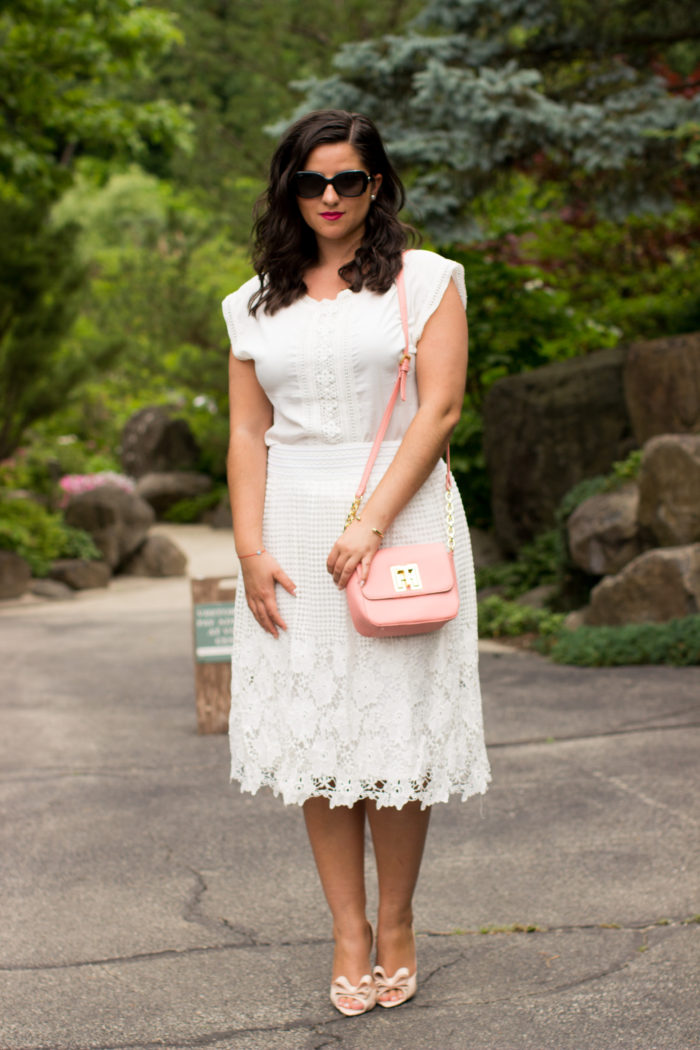 lace A-line skirt, lace outfit idea, summer outfit, tommy hilfiger handbag, pink crossbody, bow shoes, bow pumps