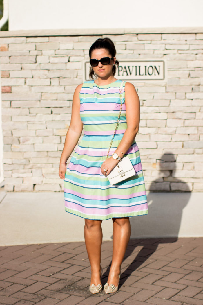 multi stripe dress, kate spade multi cape stripe dress, chicago designer dress, summer dress, blogger designer, colorful stripe dress,