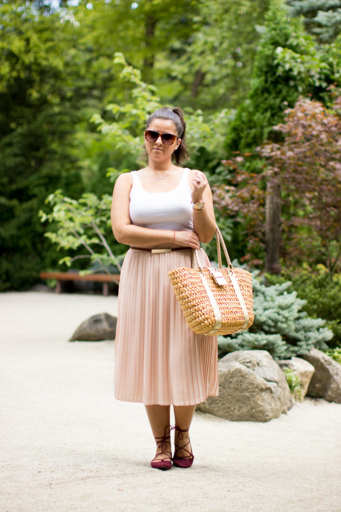 pointed lace up flats, light pink skirt, blush pleated skirt, target fashion, target skirt, white top, straw tote,