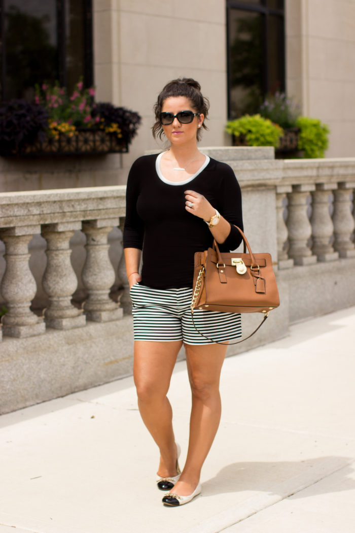 coco chanel inspired outfit, striped shorts, calvin klein shorts, michael kors hamilton handbag, quilted chanel flats, classic outfit