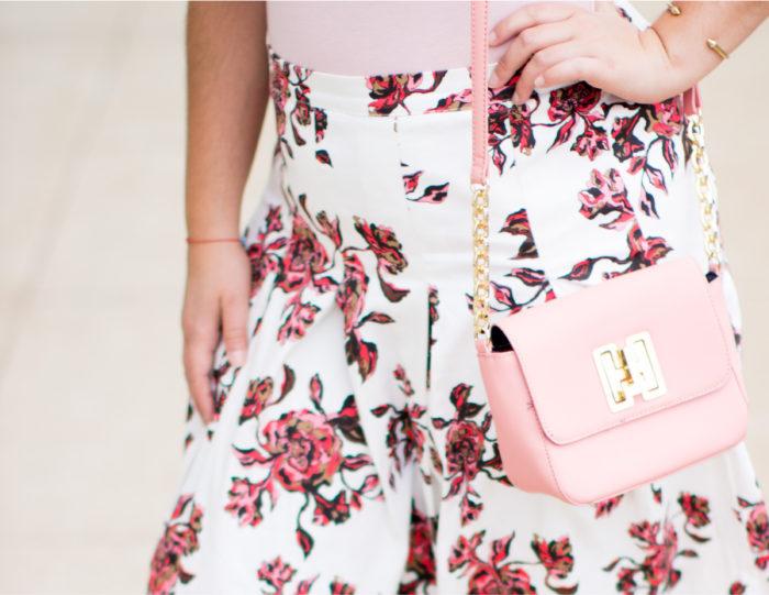 pink hues, blush tones, blush top, floral skirt, tommy hilfiger handbag, pink crossbody, steve madden sandals