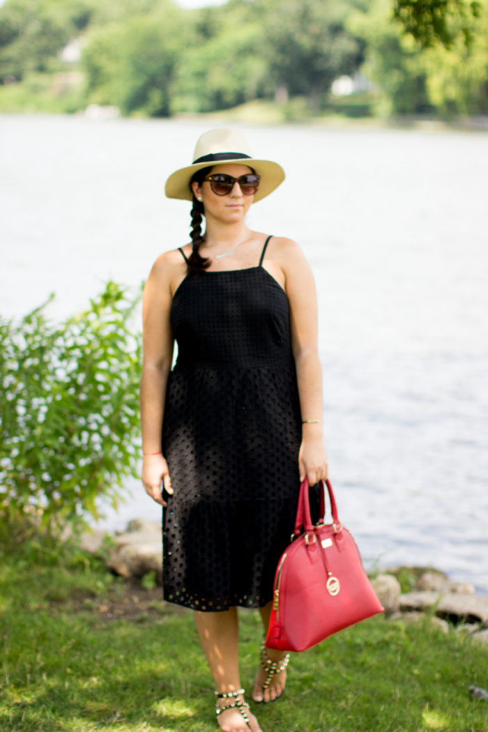 sunday afternoon, sunday afternoon dress, black dress, black lace dress, eyelet dress, red satchel, bcbg handbag, straw hat, rockstud sandals
