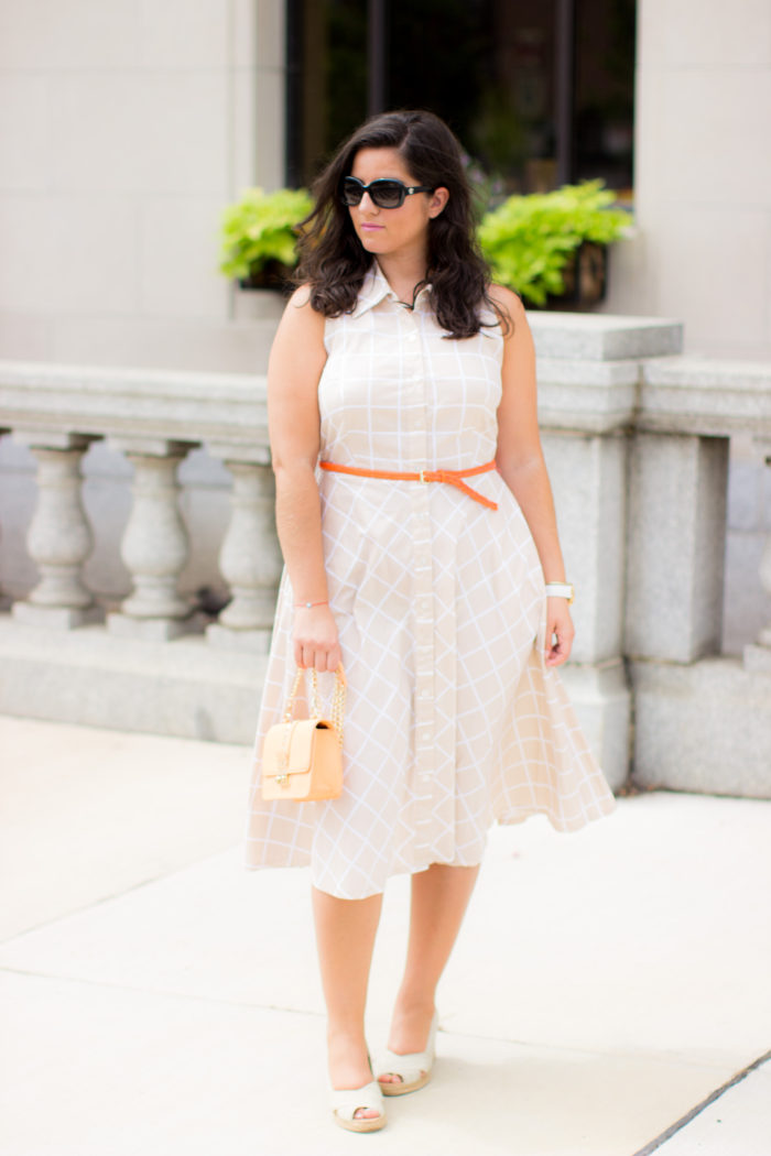vintage style dress, orange belt, orange crossbody, bcbg handbag, designer crossbody, rockstud handbag, wedges, white mountain shoes