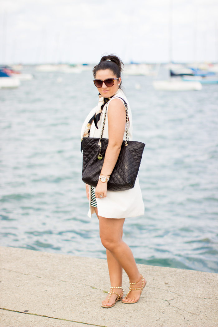 How to style a long vest in summer, long white vest, white house black market, striped shorts, quilted tote, rockstud sandals, nautical silk scarf