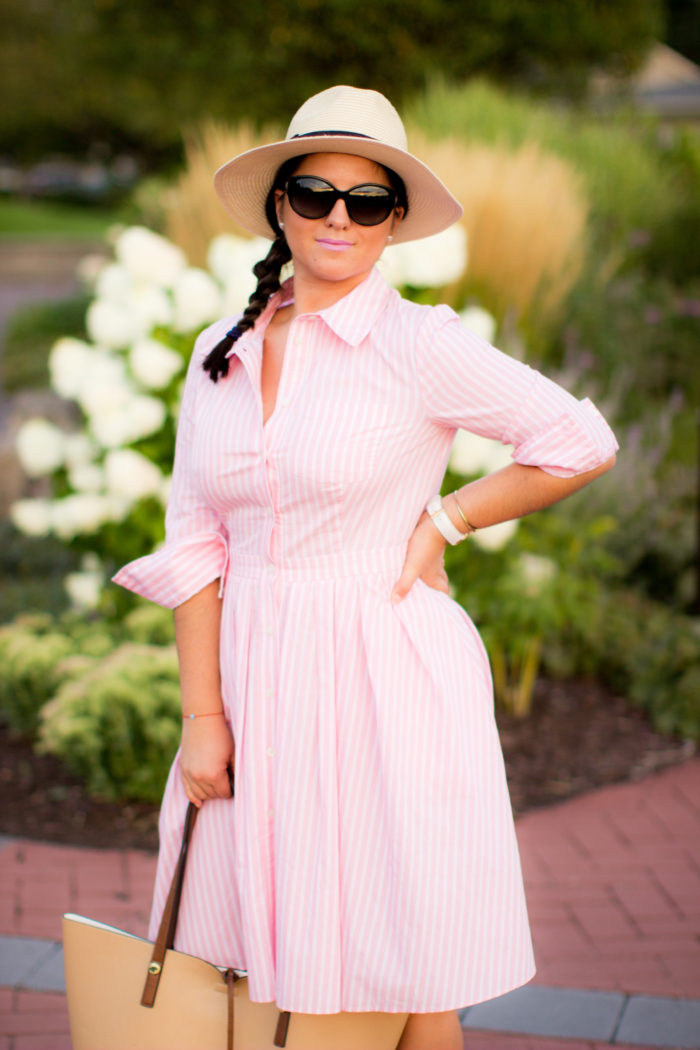 long sleeve shirt dress, longsleeve shirtdress, pink shirtdress, ralph lauren classic dress, straw hat, espadrille wedges, side braid, brunch outfit idea,