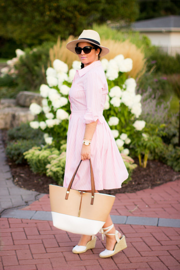 long sleeve shirt dress, pink shirtdress, ralph lauren classic dress, straw hat, espadrille wedges, side braid, brunch outfit idea,