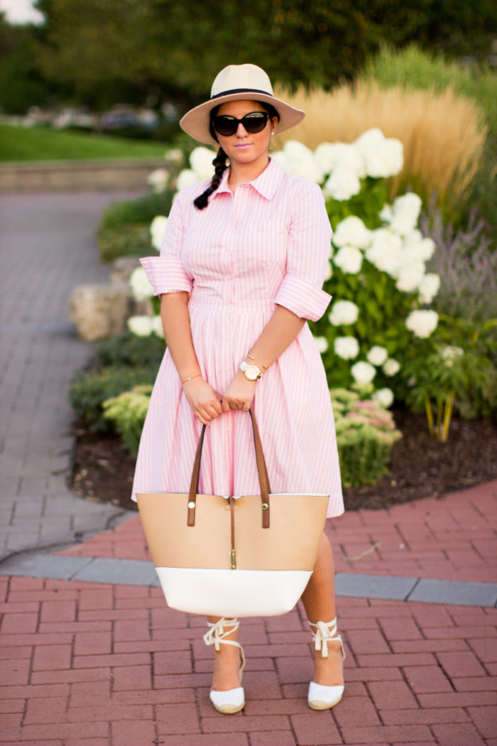 long sleeve shirtd ress, pink shirtdress, ralph lauren classic dress, straw hat, espadrille wedges, side braid, brunch outfit idea,
