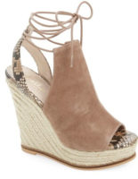 chloe espadrille wedge dupe, summer sandals, espadrille wedges, summer shoe trend, hottest shoe trend, marc fisher wedges, suede sandals, suede and espadrille sandals