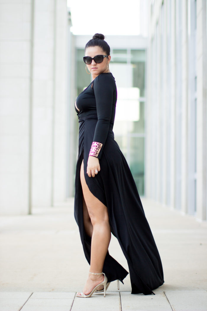 kim kardashian style, cut out dress, slit dress, bracelet cuff, sleek high bun, gold steve madden sandals, kim kardashian fashion, romwe dress, romwe women's fashion