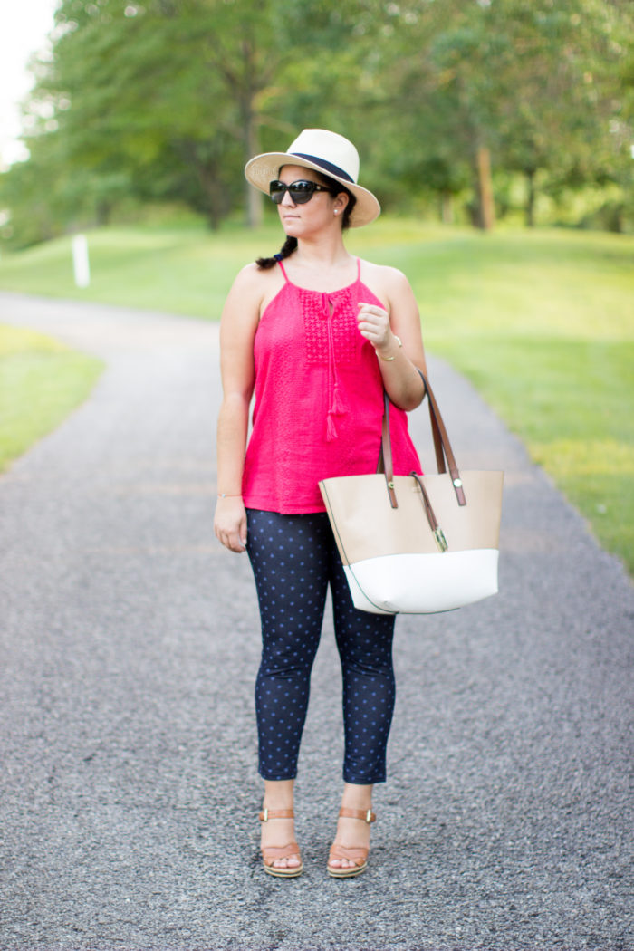 no nonsense, leggings review, cropped legging, what to wear for a bbq, polka dots leggings, blue denim leggings, straw hat, red top, calvin klein tote