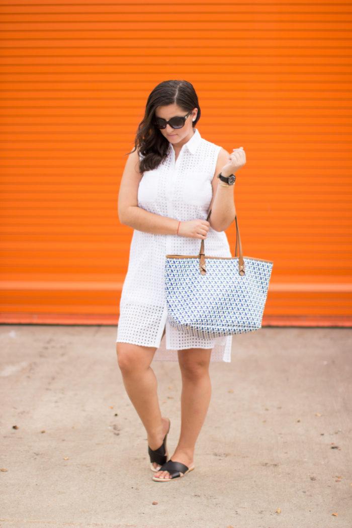 white eyelet dress, kohls dress, steve madden flat sandals, ralph lauren handbag, geometric print handbag,