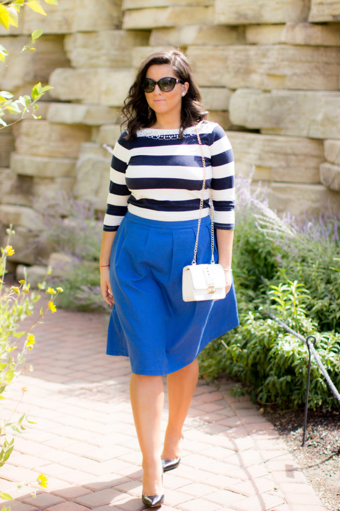 how to wear a monochromatic outfit, blue outfit, blue striped top , blue a-line skirt, work appropriate outfit,