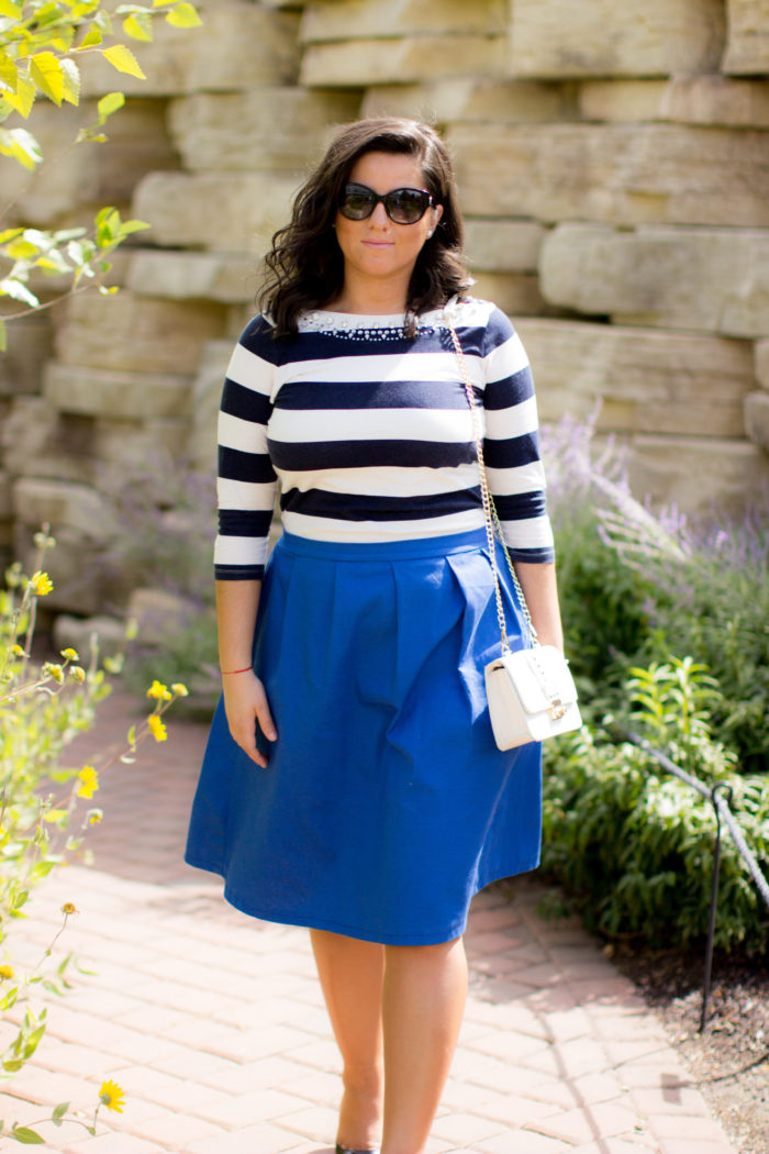 how to wear a monotone outfit, blue outfit, blue striped top , blue a-line skirt, work appropriate outfit,