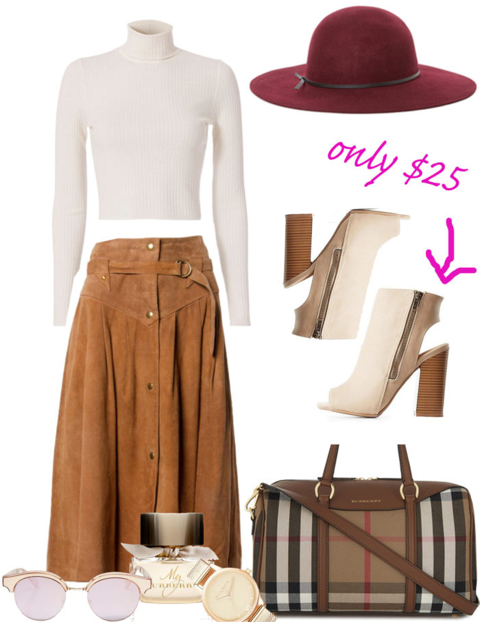 outfit idea for fall, suede skirt, chunky heel open toe booties, burgundy hat, winter white sweater, burberry handbag