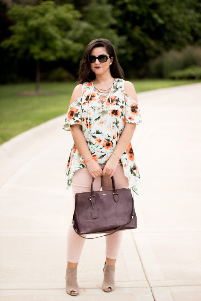 open toe booties, suede booties, blush pants, maroon ralph lauren satchel, fall outfit idea, what to wear for fall,