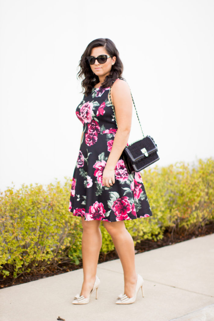 wedding guest dress, floral dress, black floral dress, fit and flare Fall dress, gold bow pumps, tweed handbag