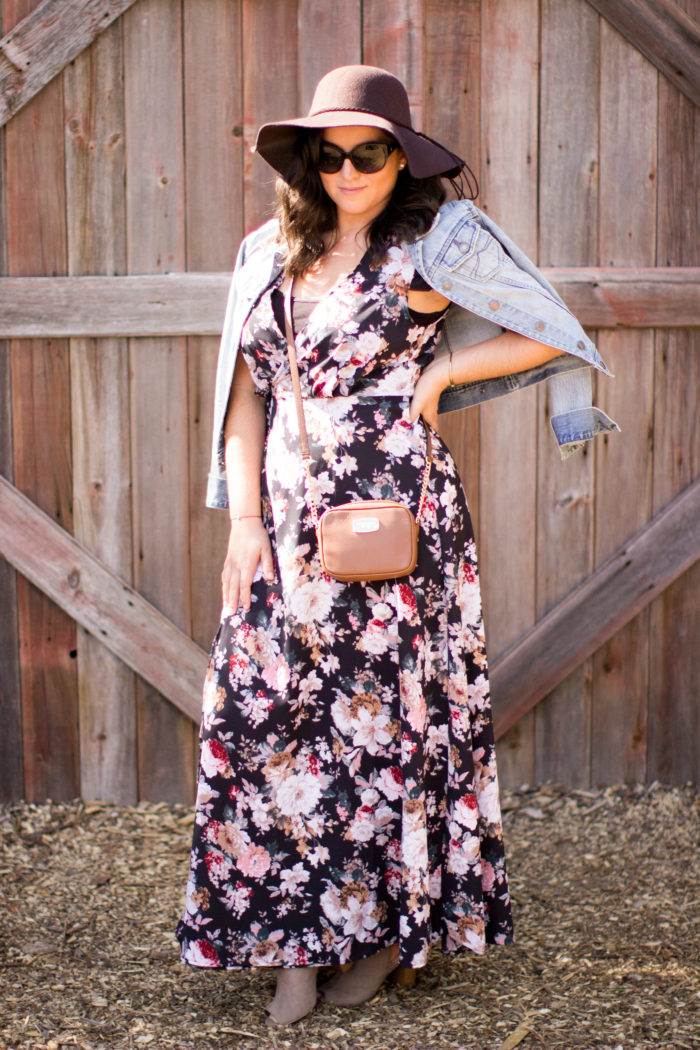 casual boho style dress, floral print maxi dress for fall, fall fashion, boho style dress for fall, suede open toe booties, denim jacket, michael kors crossbody