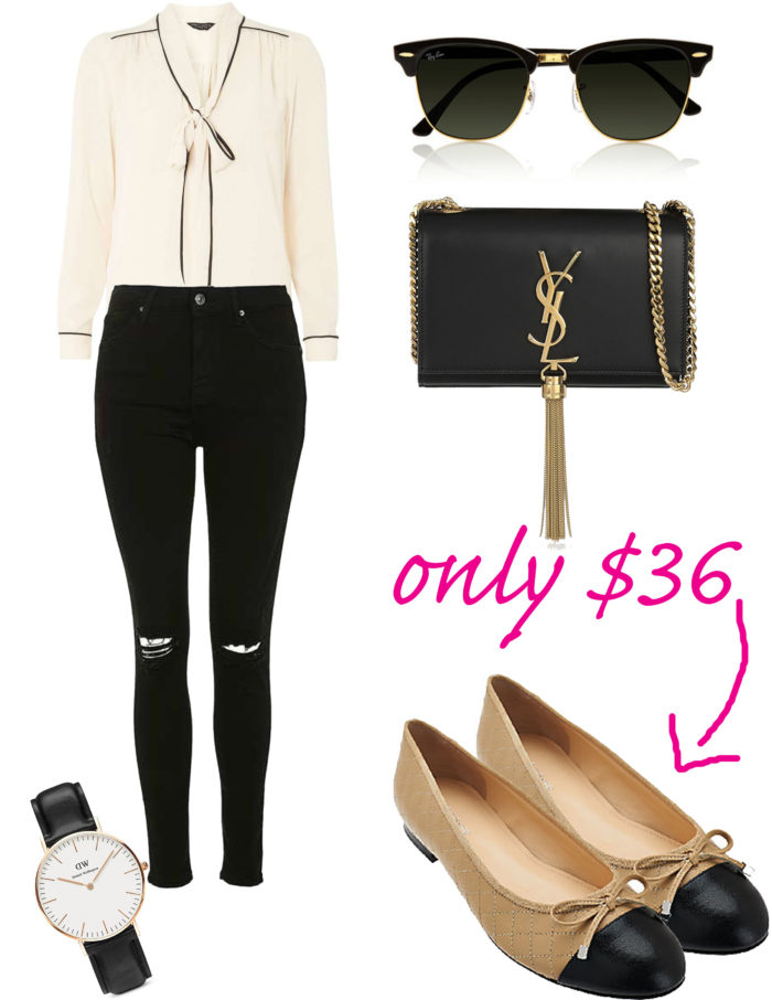 classic black and white outfit for fall, quilted ballerina flats, ysl handbag, white long sleeve blouse, black ripped jeans