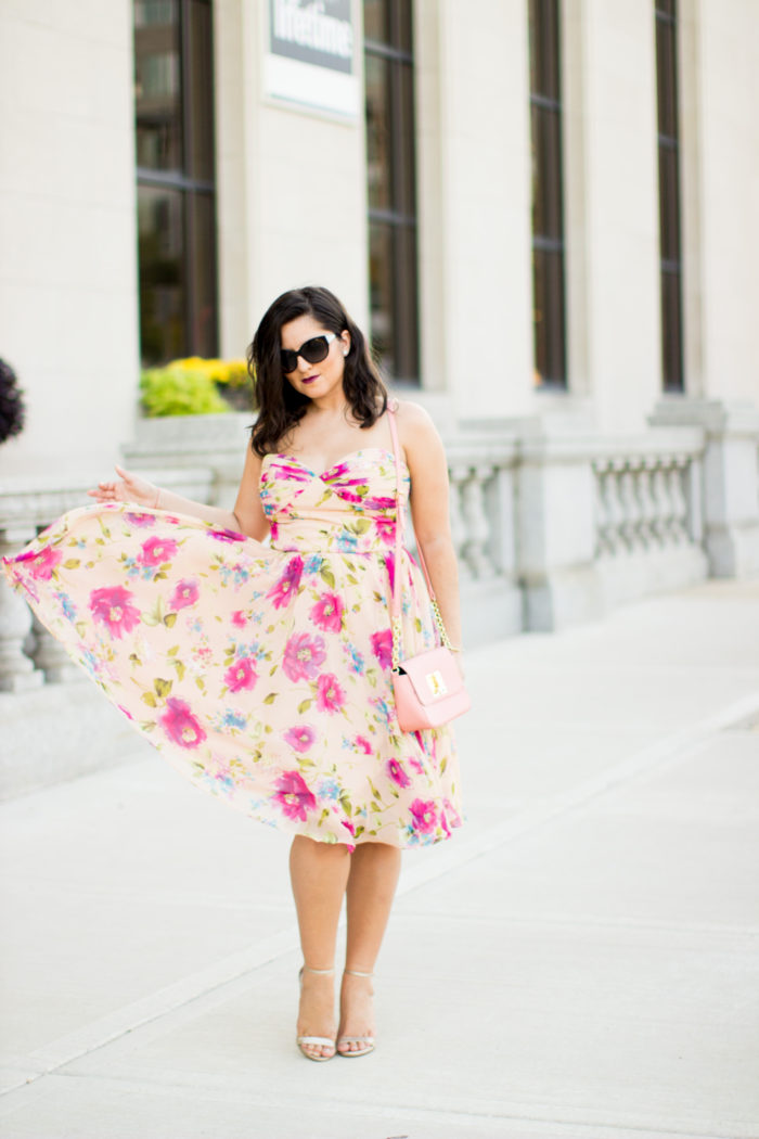 floral chiffon dress, wedding guest dress, wedding guest attire, pink floral dress, strapless pink chiffon dress, gold sandals, pink tommy hilfiger crossbody